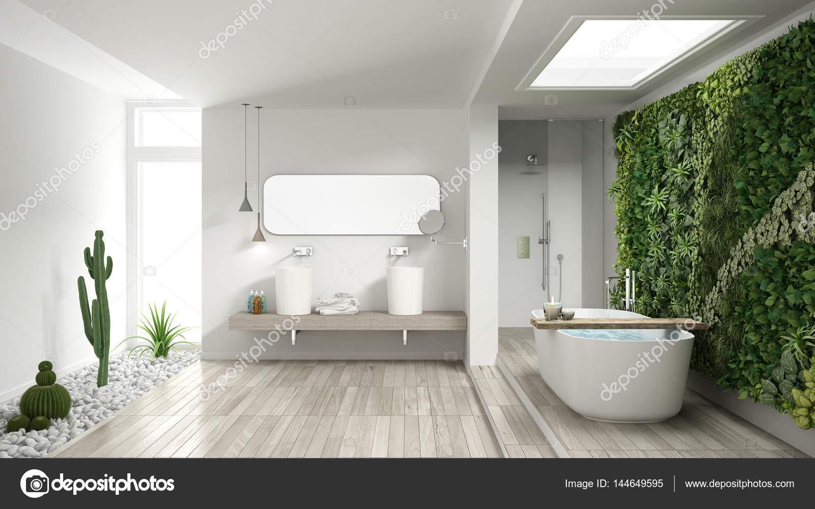 Minimalistische witte badkamer met verticale en sappige tuin