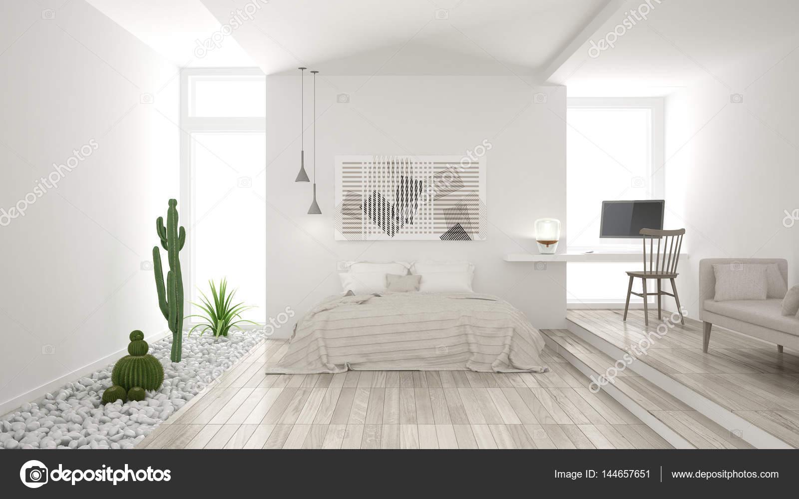 Scandinavische minimalistische witte slaapkamer met succulente tuin