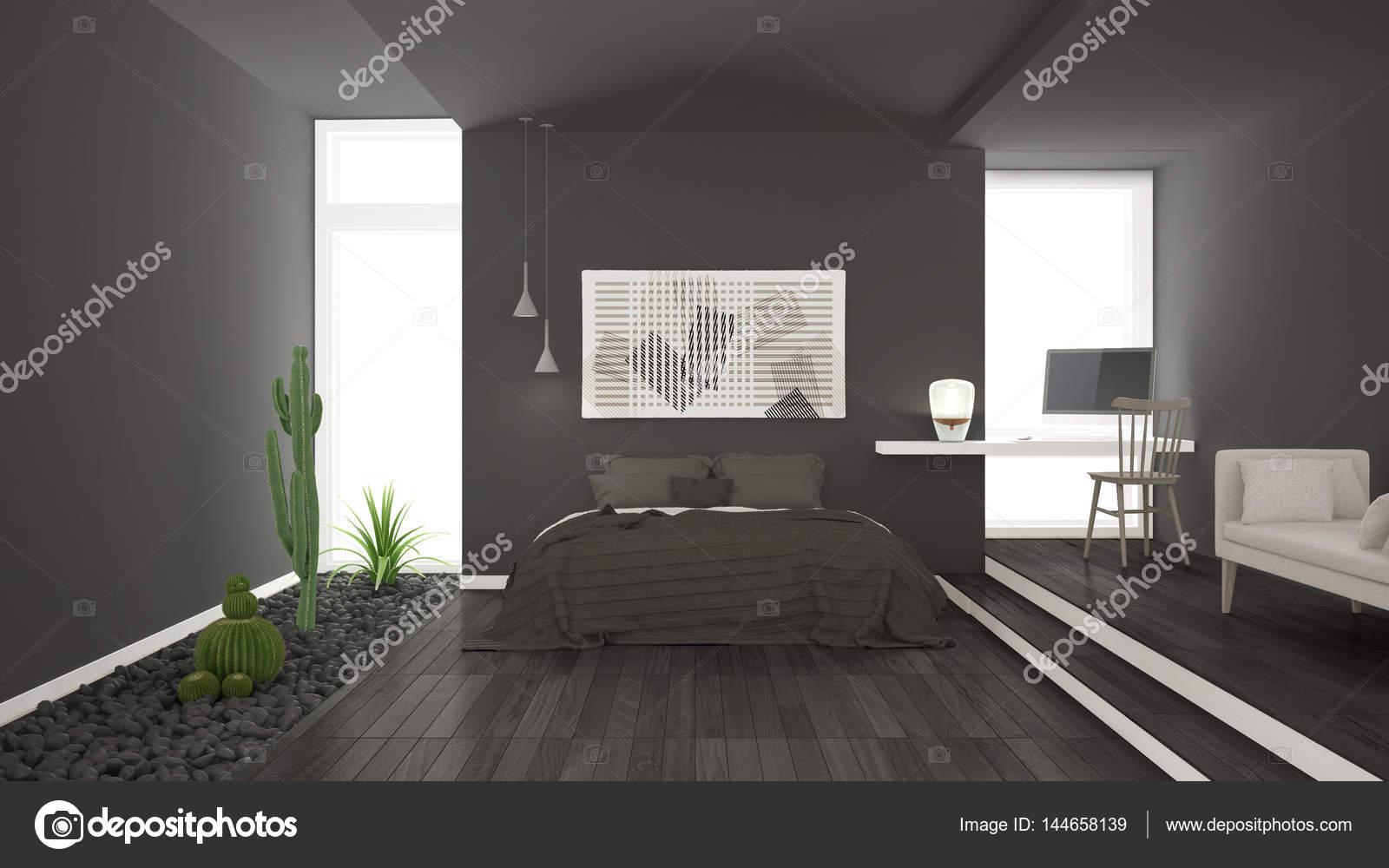 Scandinavian Minimalist Gray Bedroom With Succulent Garden Wood - Gray-bedroom-minimalist