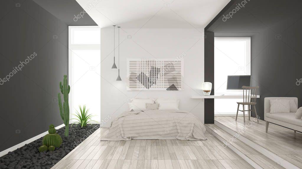 Scandinavo camera da letto minimalista bianco e grigio con for Letto minimalista