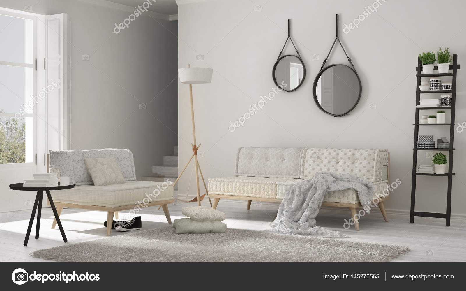 Scandinavian living room with couch, armchair and soft fur rug ...