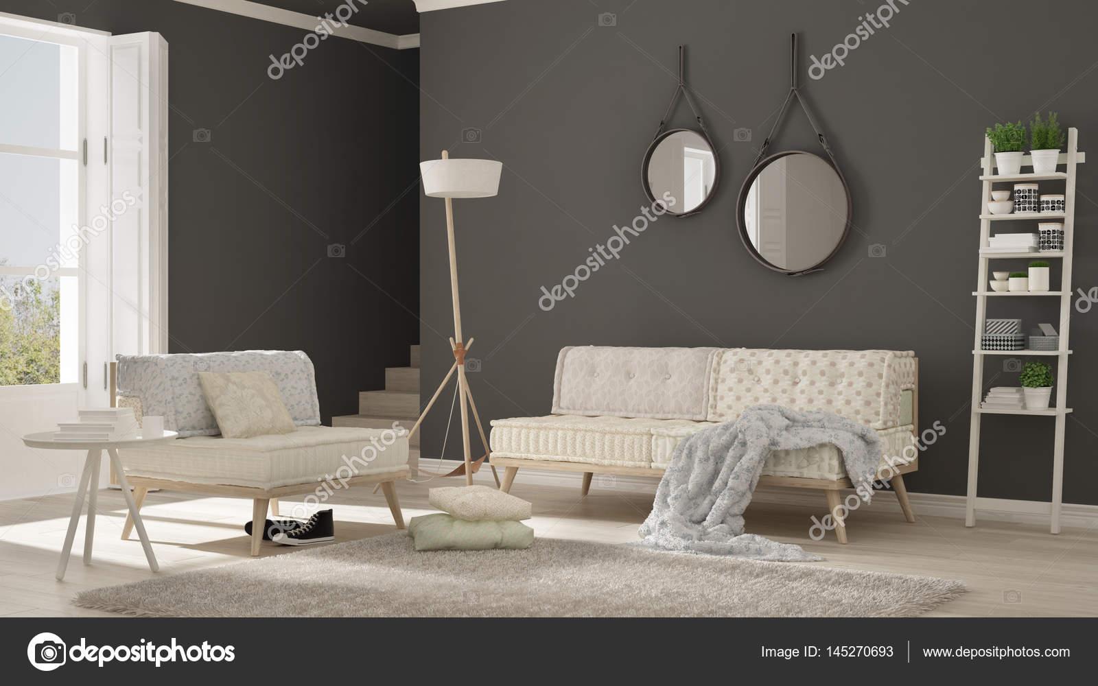Skandinavisches Wohnzimmer | Skandinavisches Wohnzimmer Mit Couch Sessel Und Weiches Fell