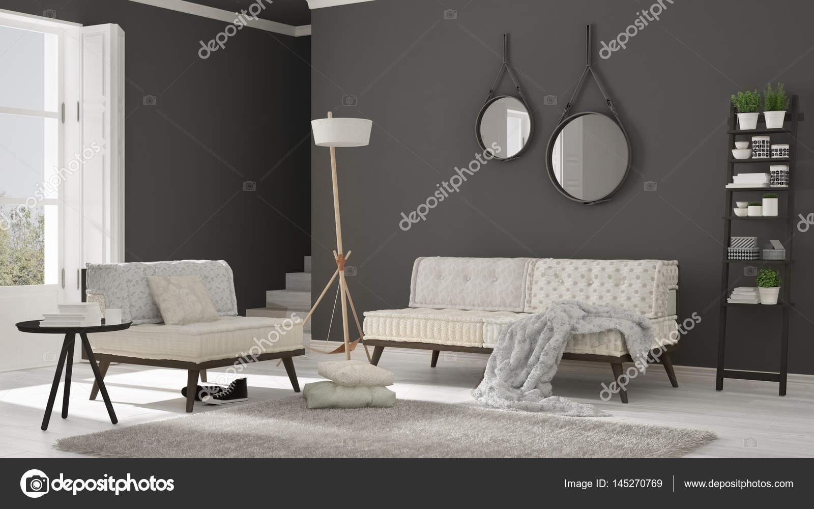Skandynawski Salon Z Kanapą Fotelem I Miękkie Futro Dywan Zdjęcie