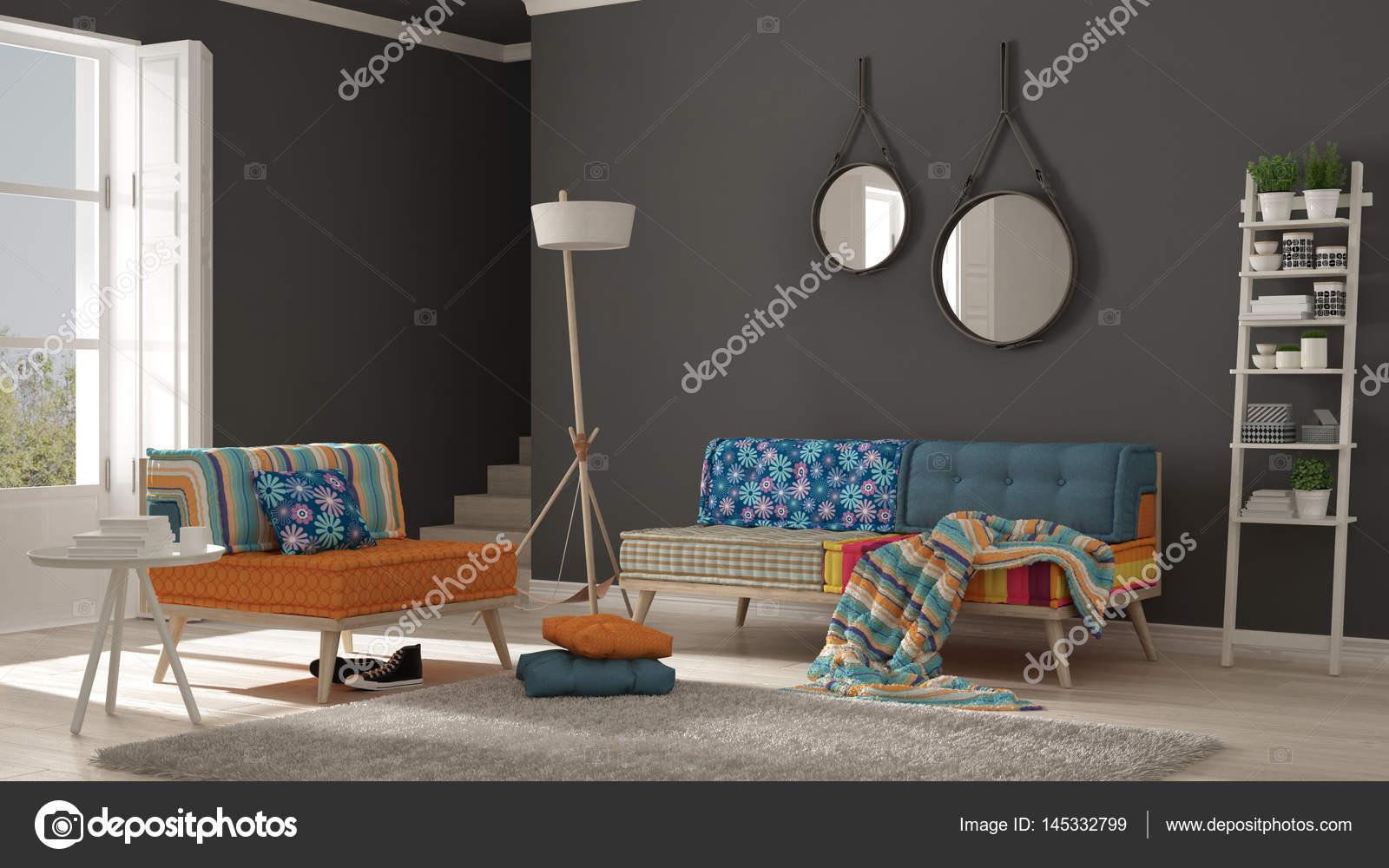 Kleurrijke Witte Woonkamer : Scandinavische woonkamer met kleurrijke bank leunstoel en zacht