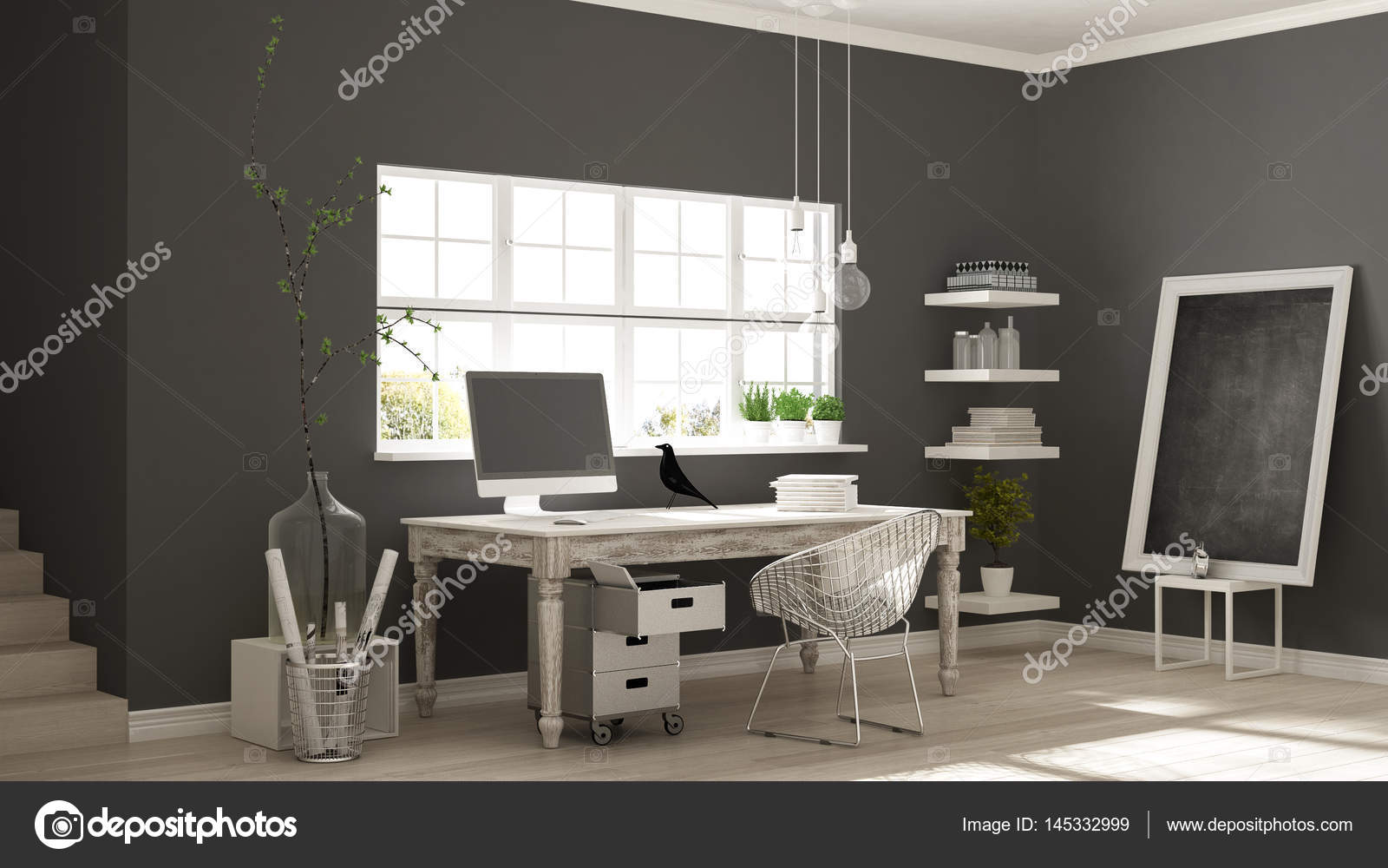 Thuis werkplek scandinavische huis kamer hoek kantoor