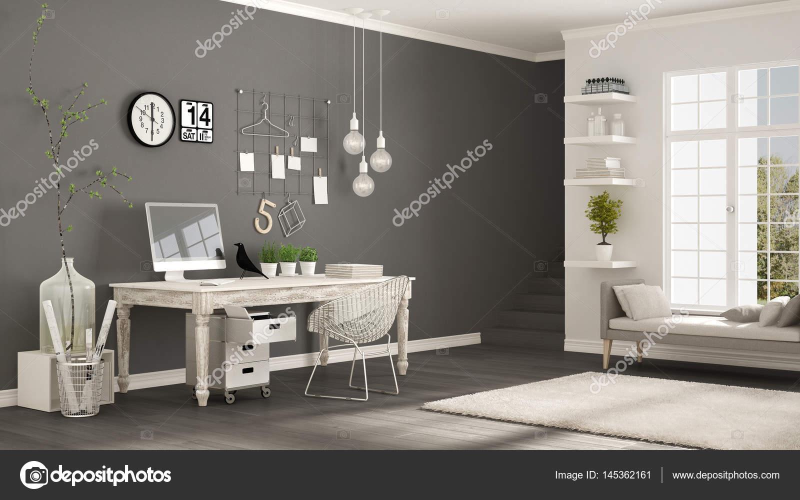 Camere Bianche E Grigie : Casa lavoro scandinavo camera bianca e grigia ufficio dangolo
