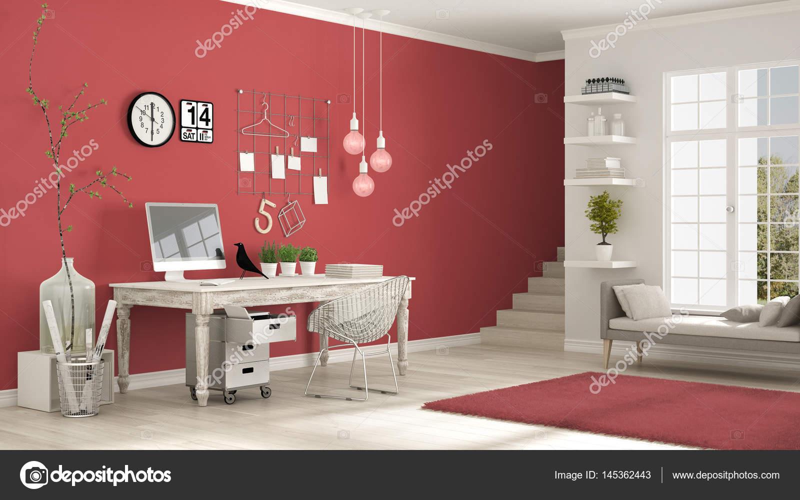 Casa lugar de trabajo sala de blanca y roja escandinava for Casa minimalista roja