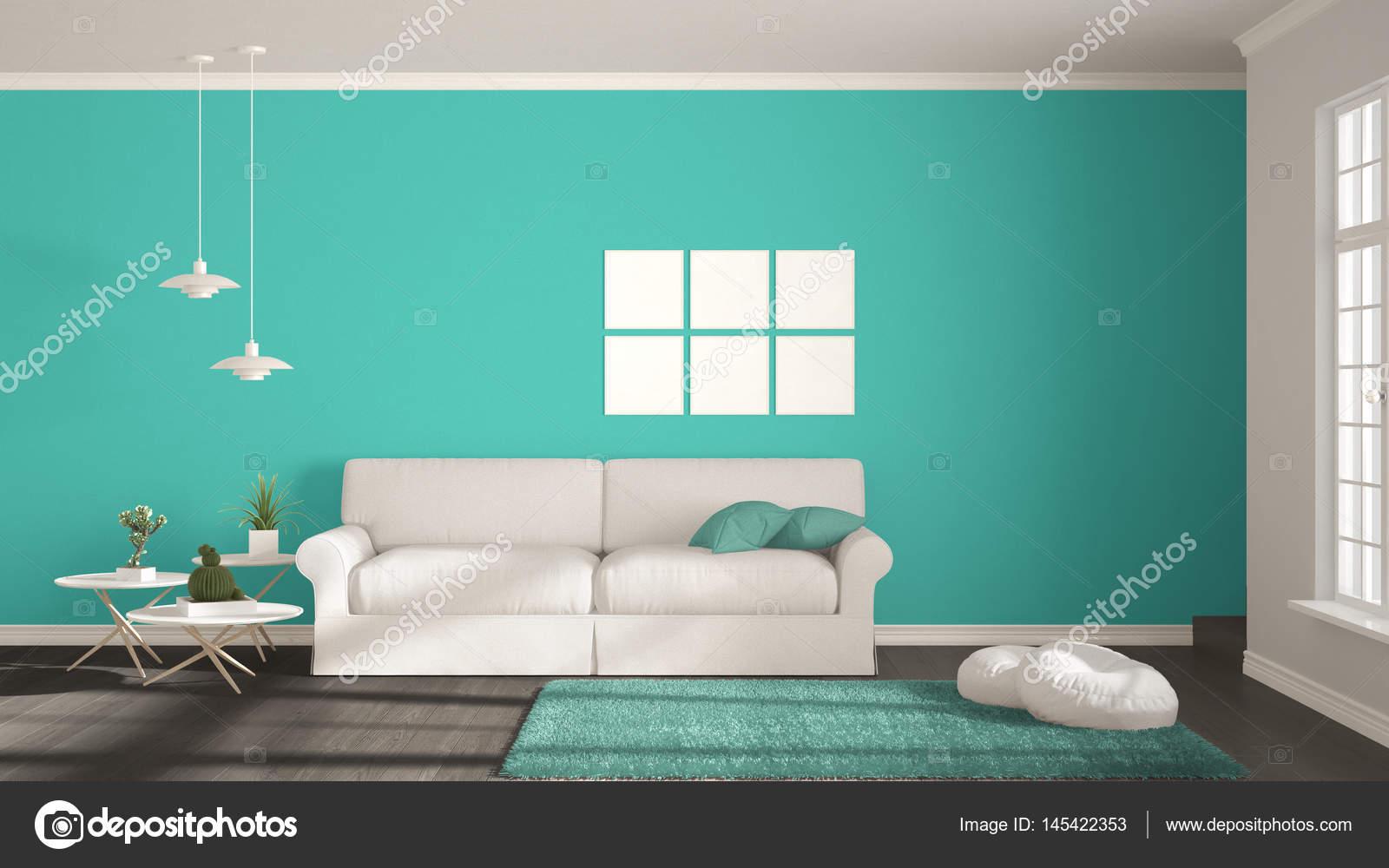Minimalistische Zimmer Einfach Weiß Grau Und Türkis Mit Bi
