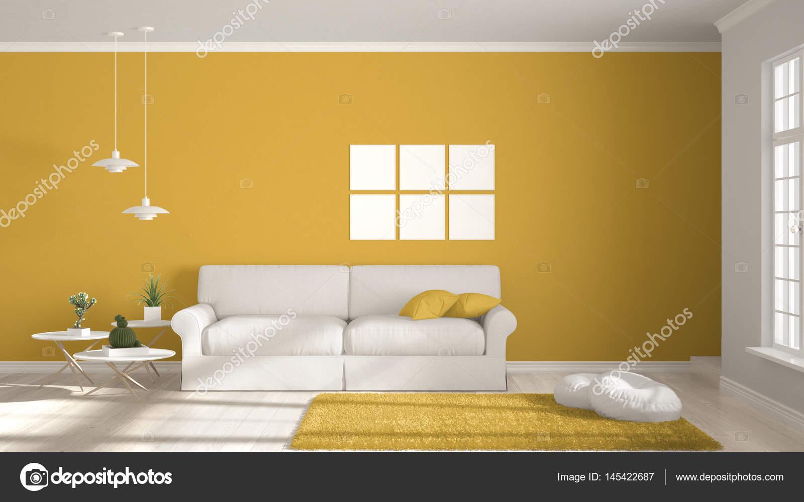Minimalistische ruimte eenvoudige wit en geel living met groot
