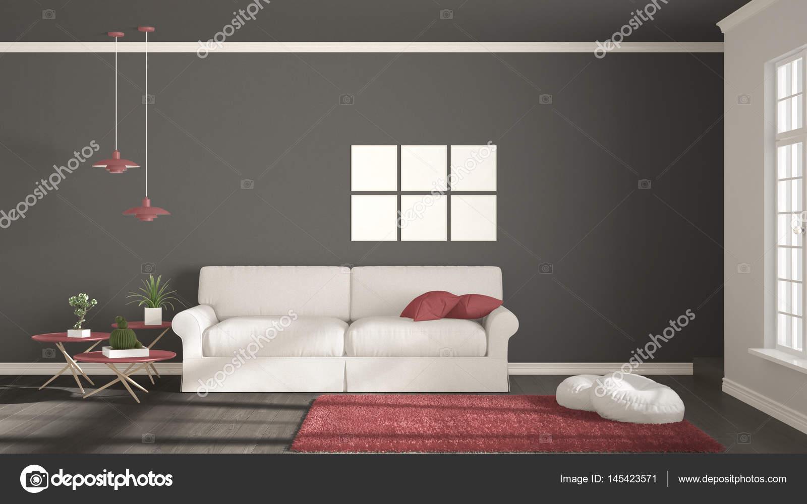 Minimalistische Zimmer, Schlichtes Weiß, Grau Und Rot Mit Großen Fenster,  Skandinavische Klassische Innenarchitektur Wohnen U2014 Foto Von ArchiVIz