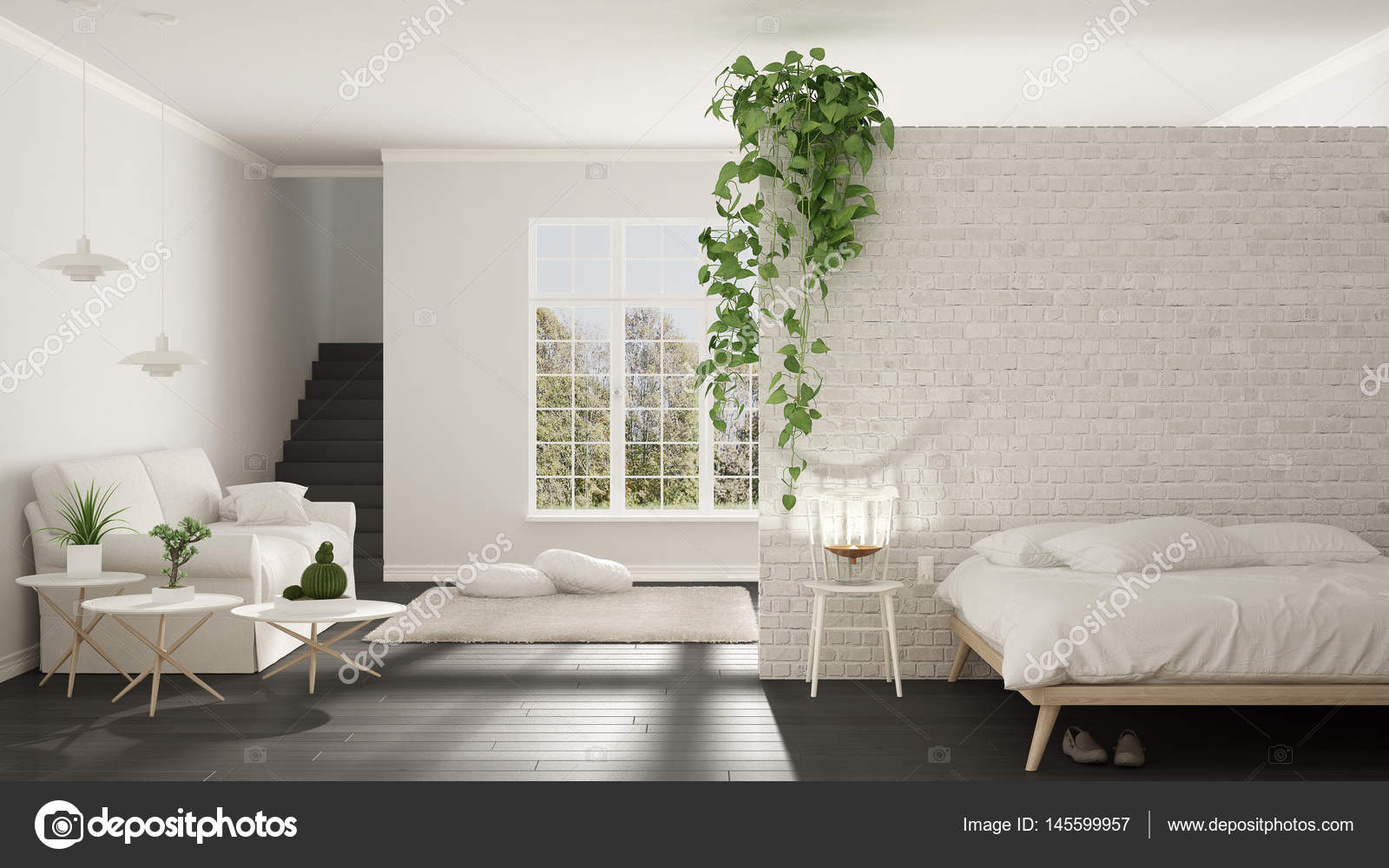 Scandinavian White And Gray Minimalist Living With Bedroom