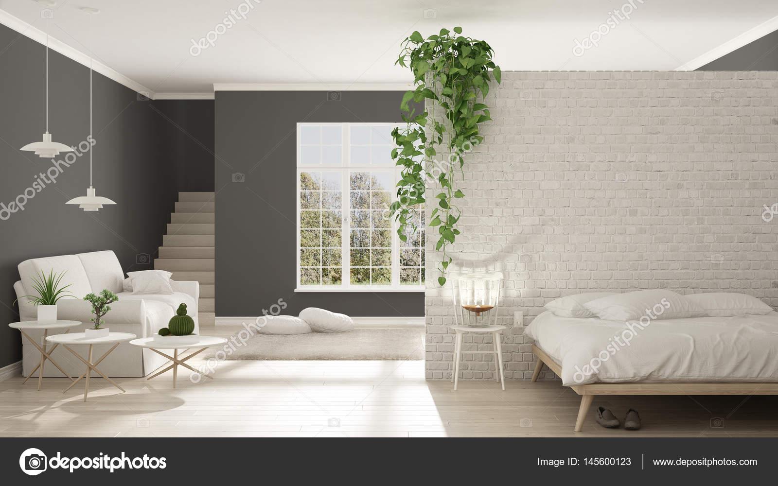 Grijs Wit Slaapkamer : Scandinavische witte en grijze minimalistisch leven met slaapkamer