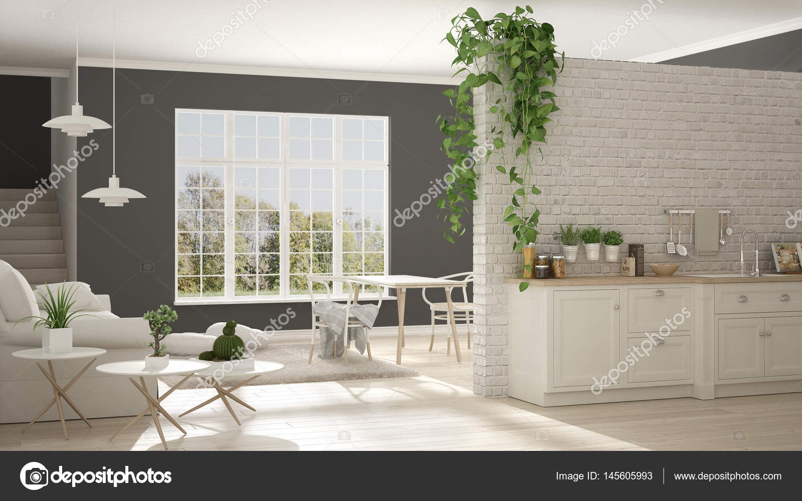 Scandinavian White And Gray Minimalist Living With Kitchen