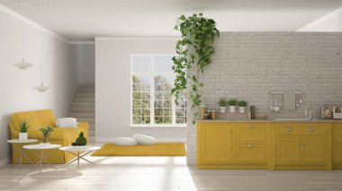 Scandinavian white and yellow minimalist living with kitchen, op