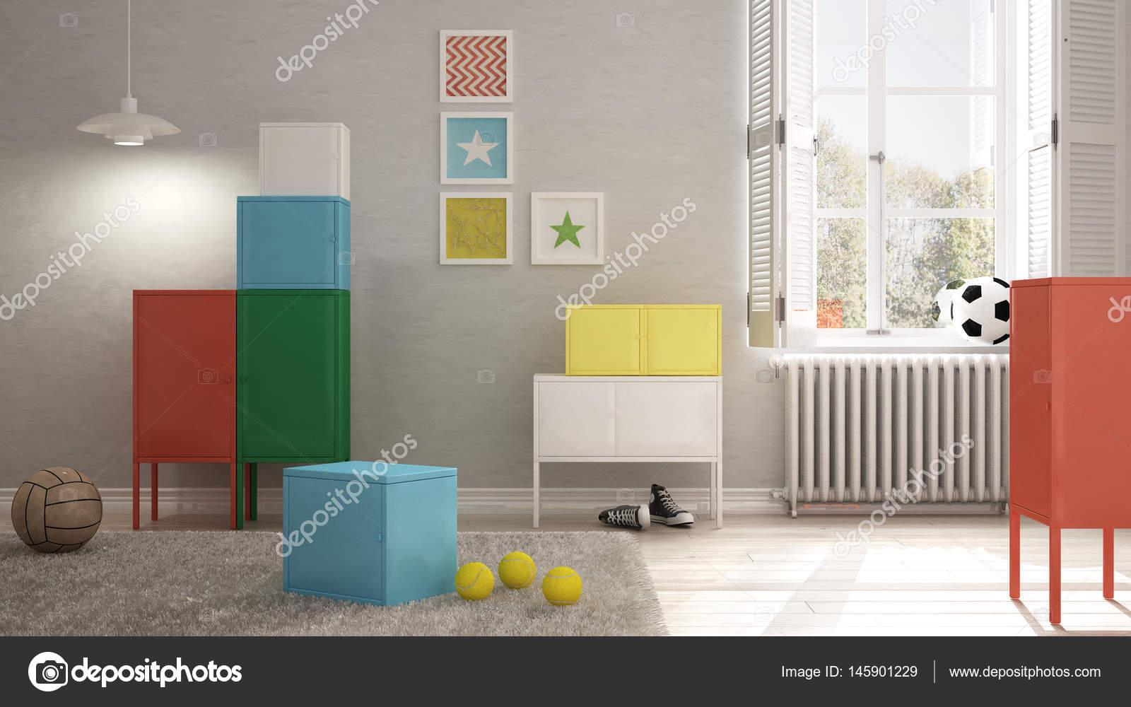 Camere Da Letto Design Minimalista : Camera da letto bambini colorati design minimalista degli interni