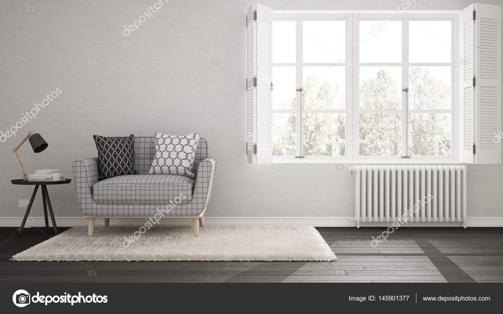 Minimalist Living Room Simple White And Gray Living With