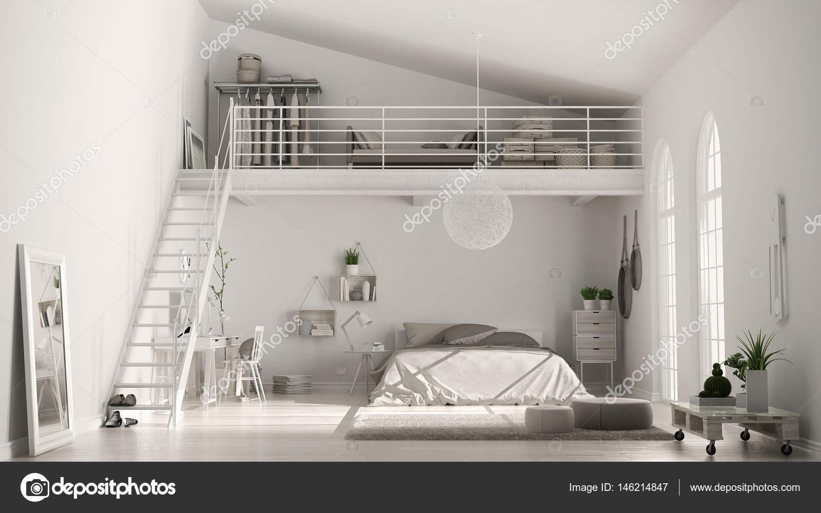 Chambre loft minimaliste blanc scandinave avec bureau à domicile