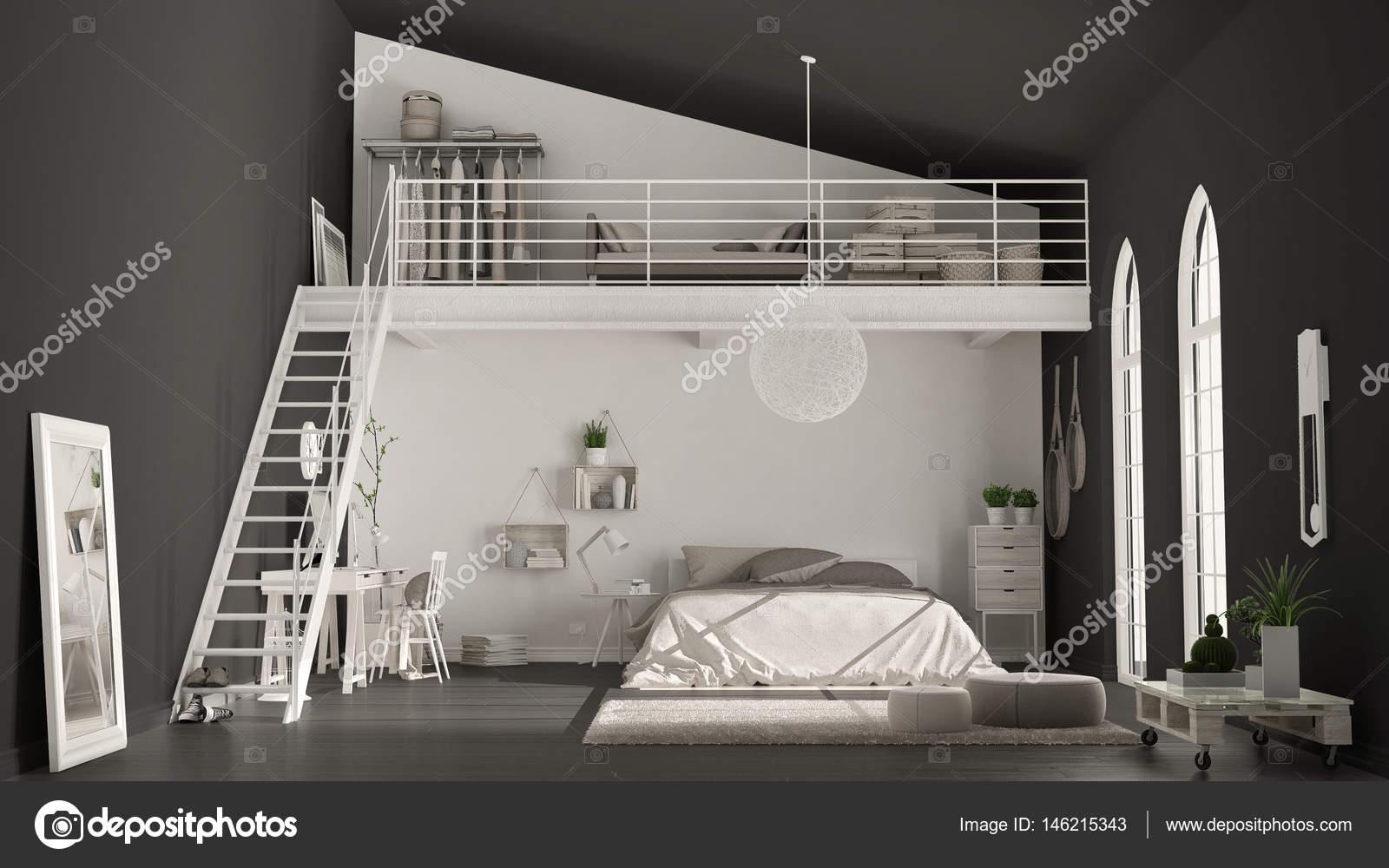 Chambre scandinave loft minimaliste avec bureau à domicile sombre