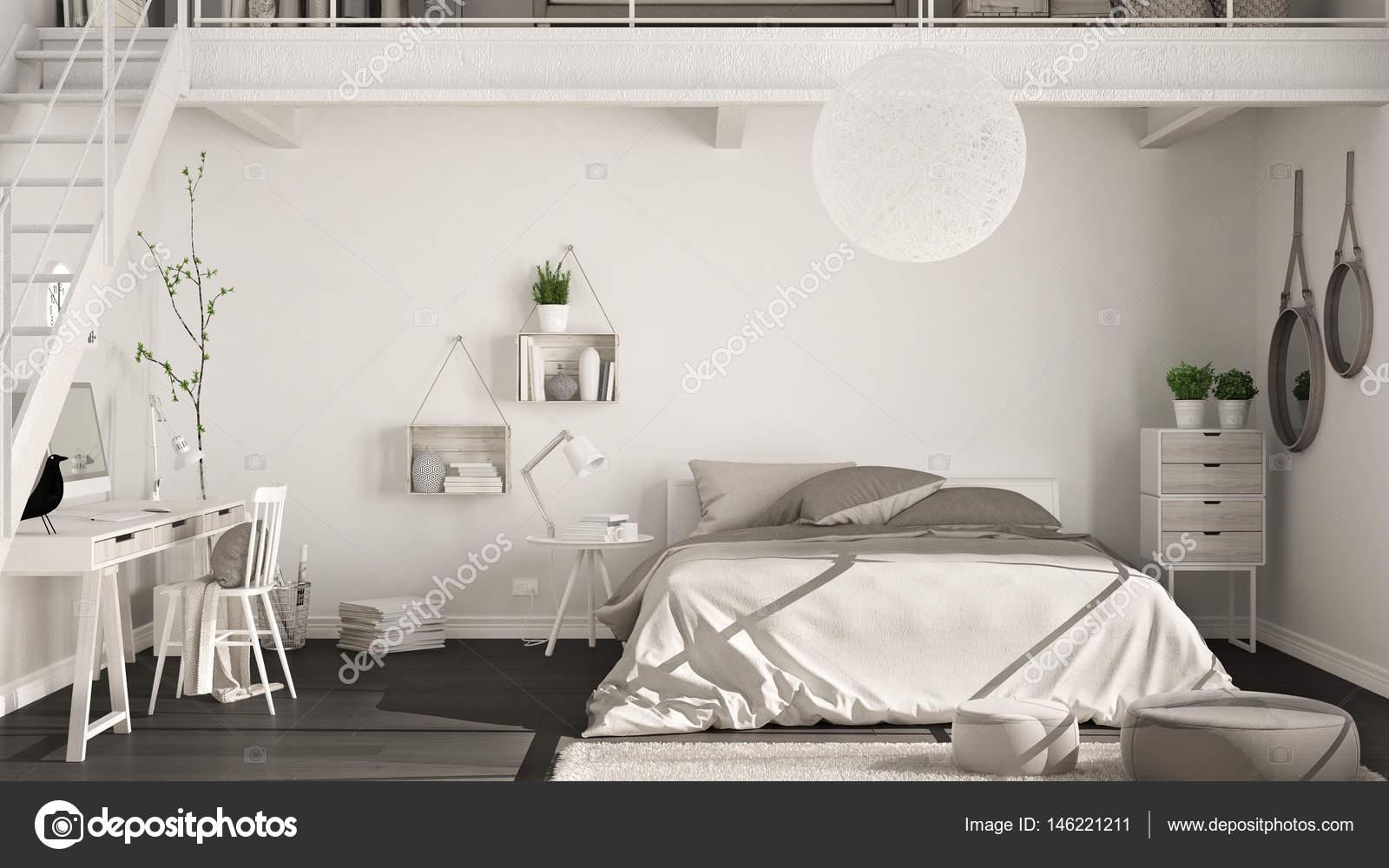 Chambre scandinave loft minimaliste avec bureau à domicile