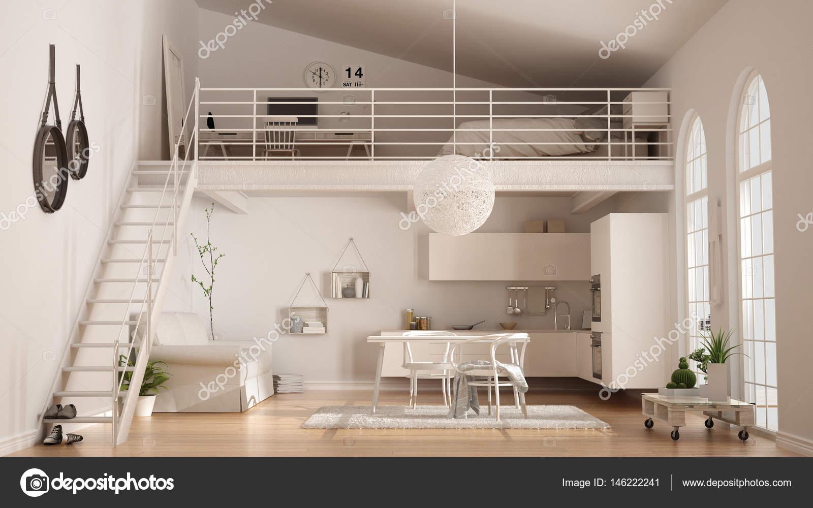 Scandinavian Minimalist Loft One Room Apartment With White Kitc