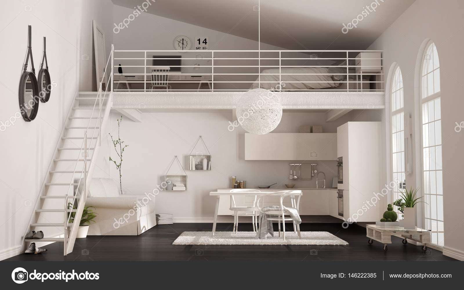 skandinavische minimalistische loft ein zimmer wohnung mit wei en kitc stockfoto archiviz. Black Bedroom Furniture Sets. Home Design Ideas