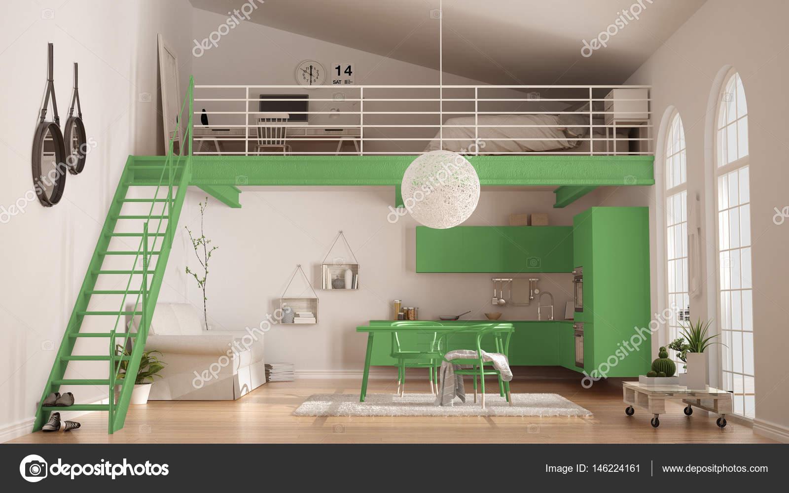 Skandinavische Minimalistische Loft, Ein Zimmer Wohnung Mit Grünen Küche,  Wohn  Und Schlafzimmer, Klassische Innenarchitektur U2014 Foto Von ArchiVIz
