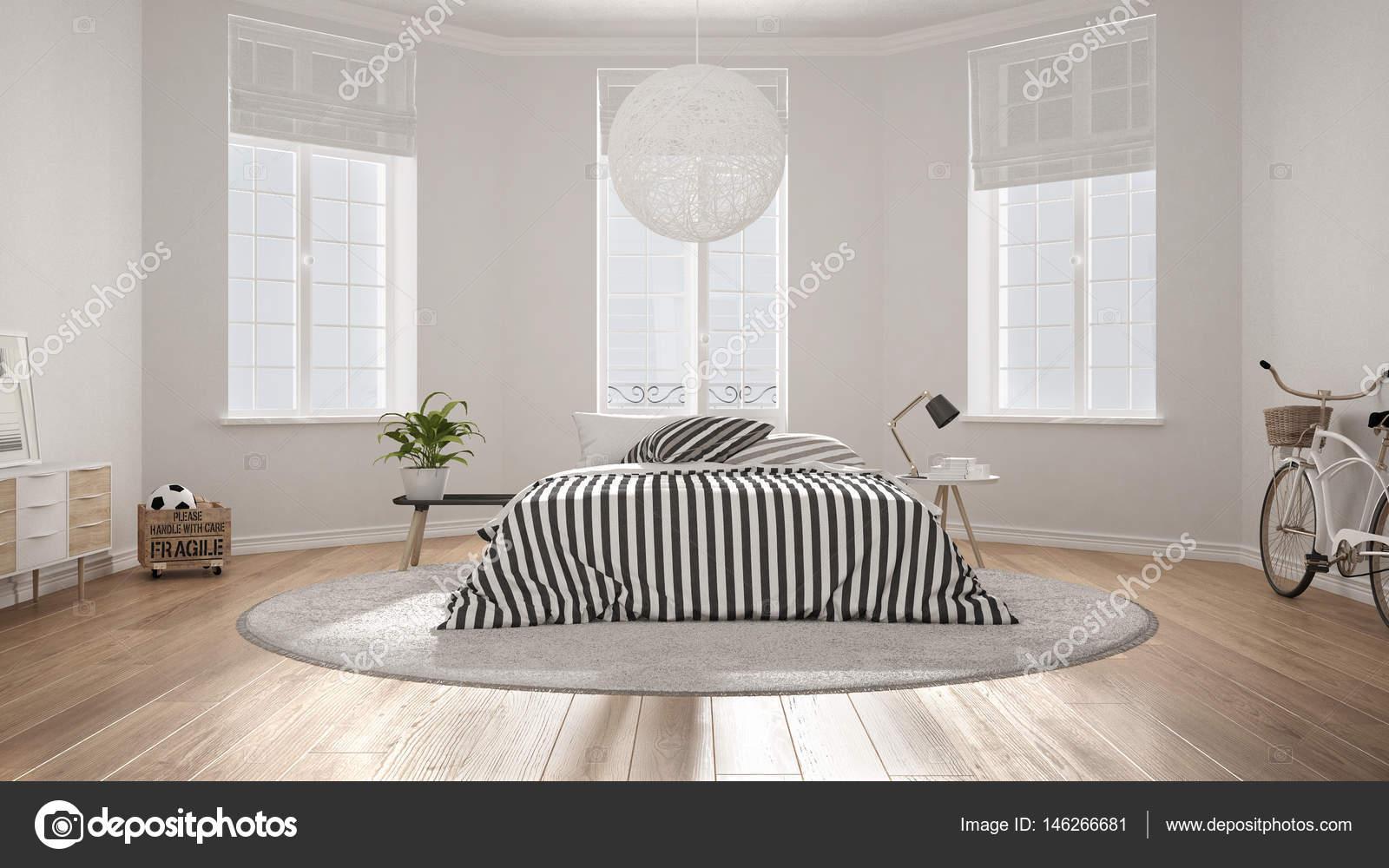 Minimalistische scandinavische wit slaapkamer klassieke modern