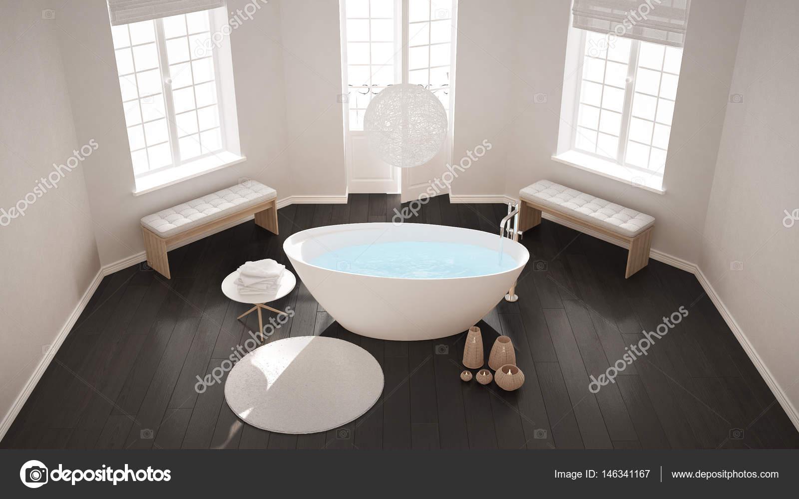 Zen Klassischen Wellness Bad Mit Badewanne, Minimalistischen  Skandinavischen Innenarchitektur, Ansicht Von Oben U2014 Foto Von ArchiVIz