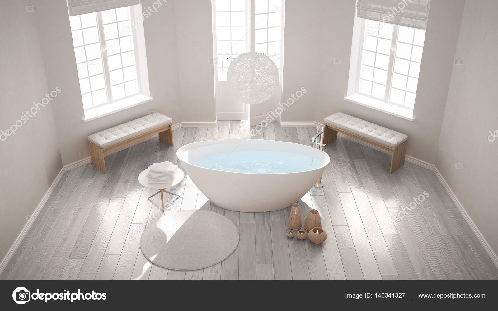 Zen classic spa bathroom with bathtub, minimalist scandinavian i ...