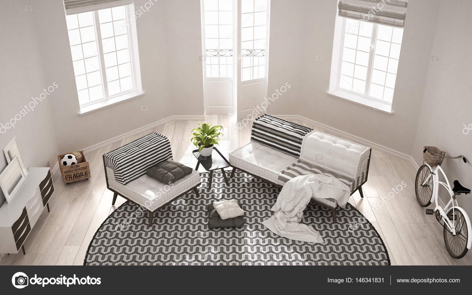 Scandinavo minimalista soggiorno con divano, poltrona e carpa — Foto ...