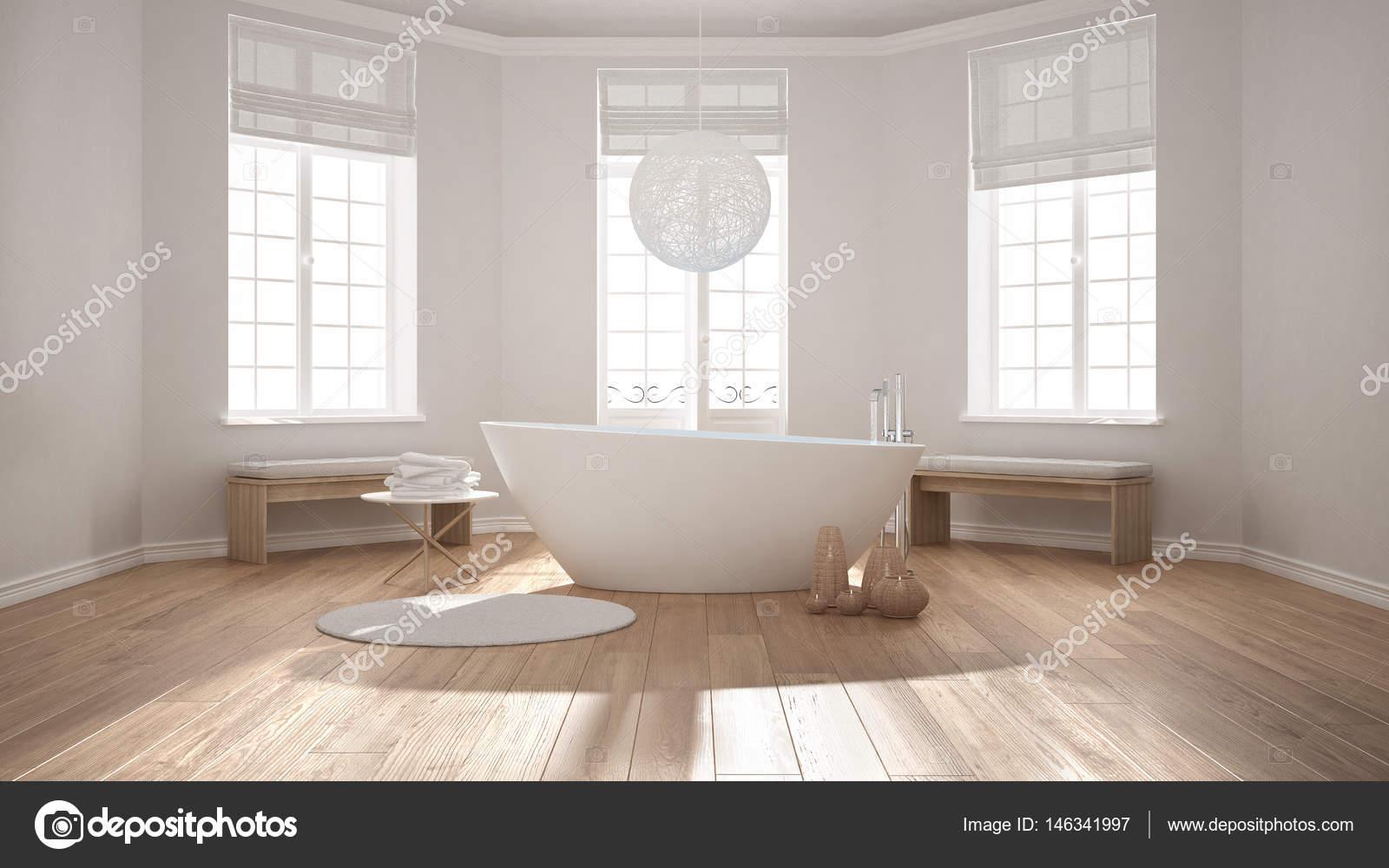 Zen-klassische Spa-Badezimmer mit Badewanne, minimalistischen ...
