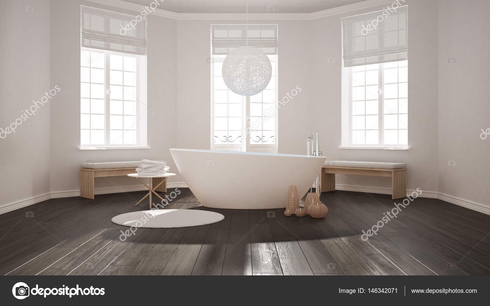 Entzuckend Zen Klassische Spa Badezimmer Mit Badewanne, Minimalistischen  Skandinavischen Interieur Design U2014 Foto Von ArchiVIz