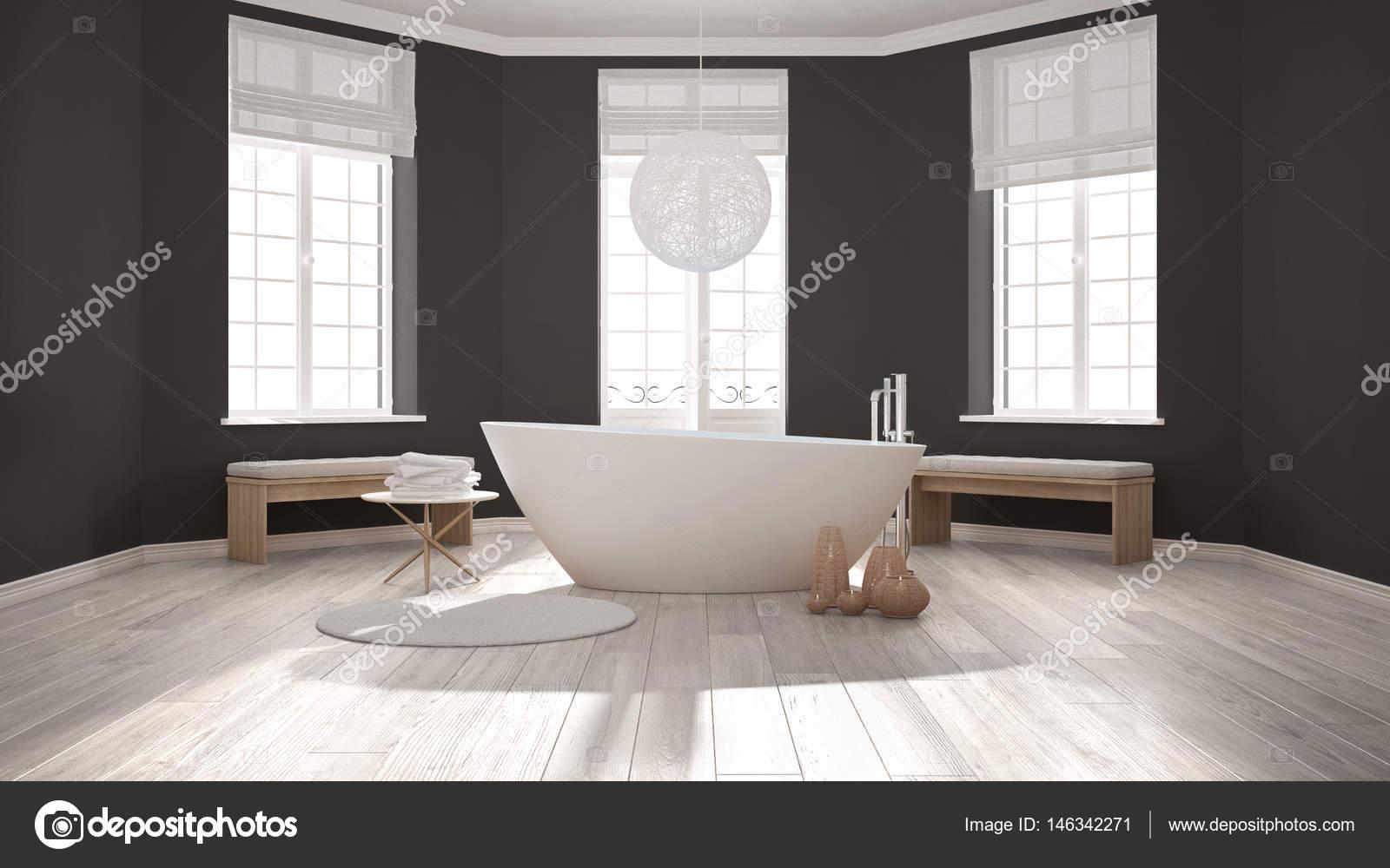 Fantastisch Zen Klassische Spa Badezimmer Mit Badewanne, Minimalistischen  Skandinavischen Interieur Design U2014 Foto Von ArchiVIz