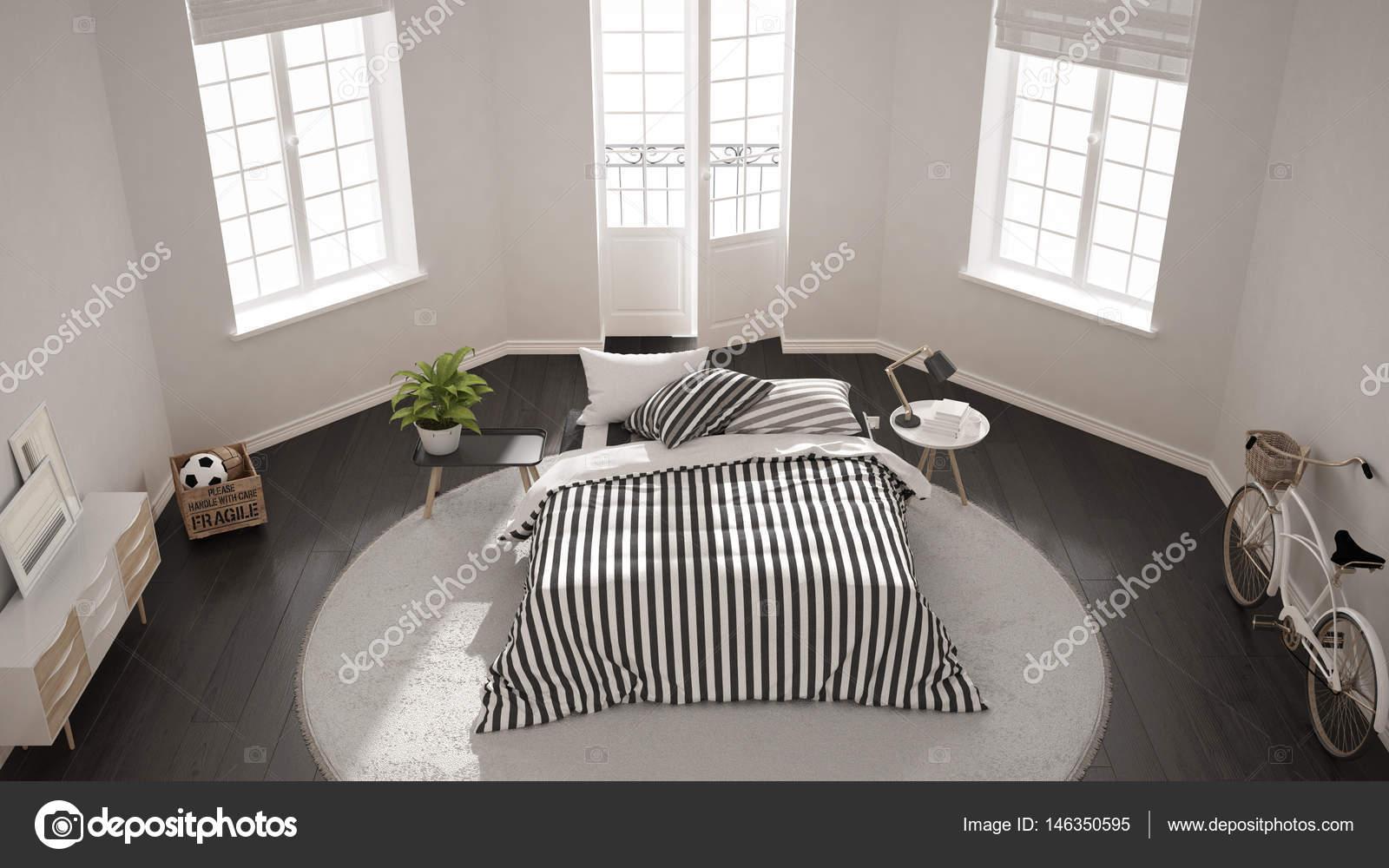Camere Da Letto Nordiche : Camera da letto minimalista moderno in bianco interni in stile