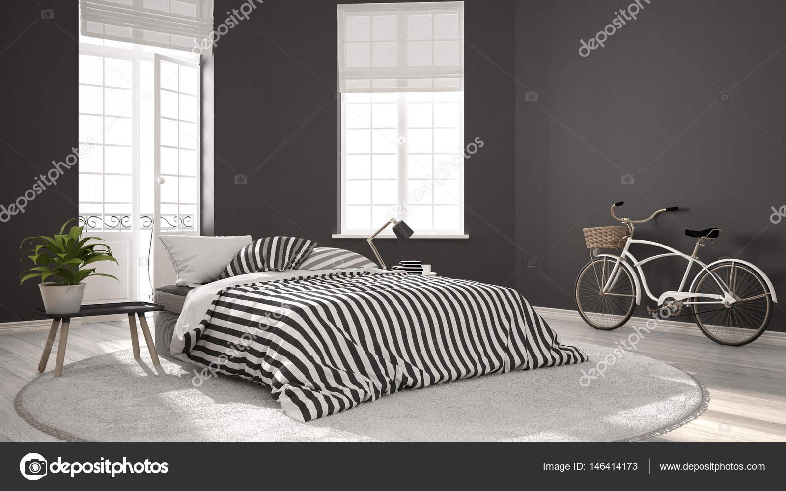Minimalistischen Skandinavischen Moderne Schlafzimmer, Klassischen  Skandinavischen Interieur U2014 Stockfoto