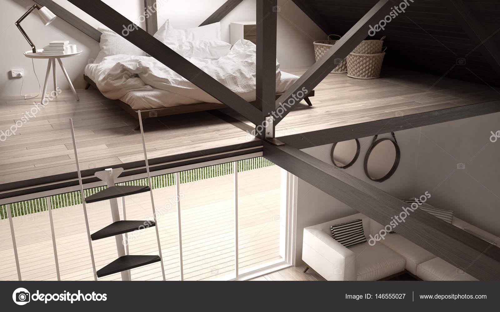 Camera Da Letto Con Divano Letto : Camera da letto loft soppalco scale e soggiorno con divano