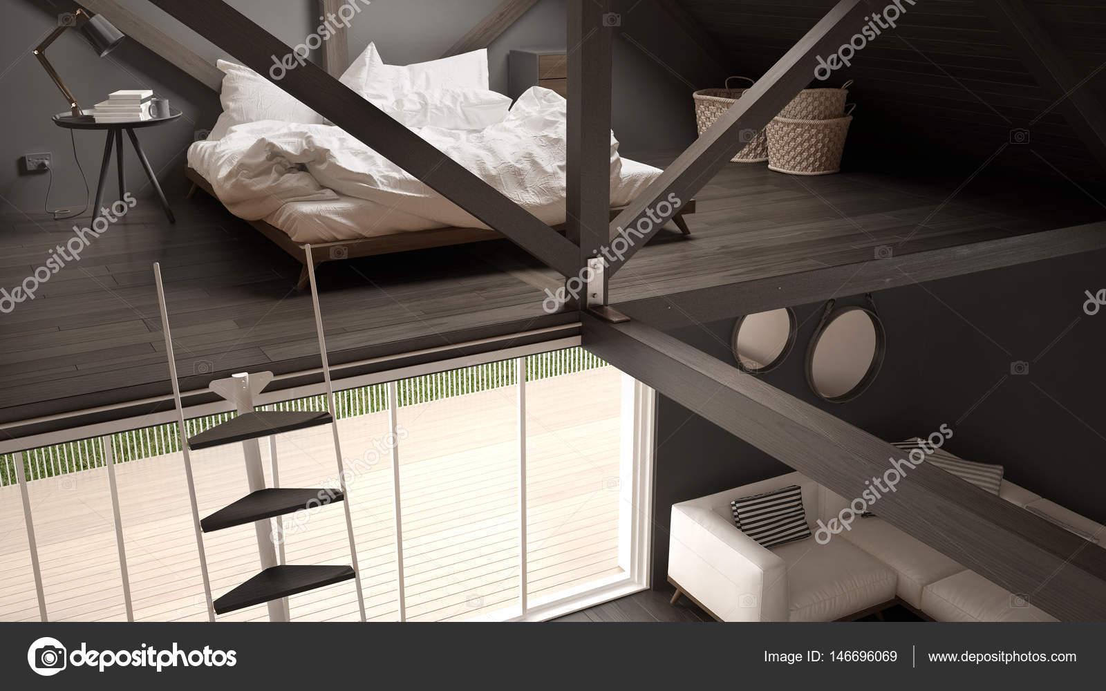 Camera da letto loft soppalco, scale e soggiorno con divano ...