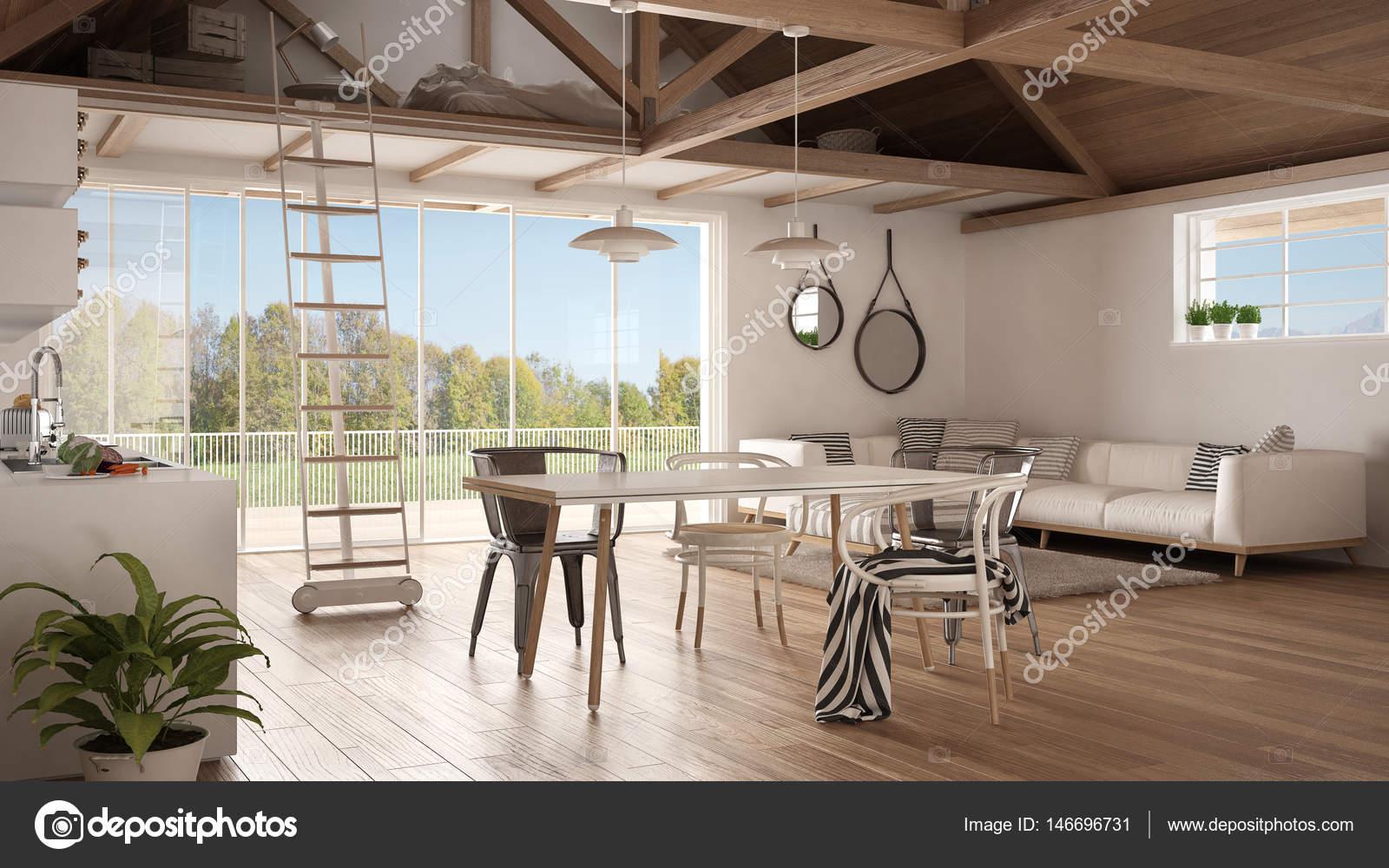 Minimalistische mezzanine loft keuken woon en slaapkamer