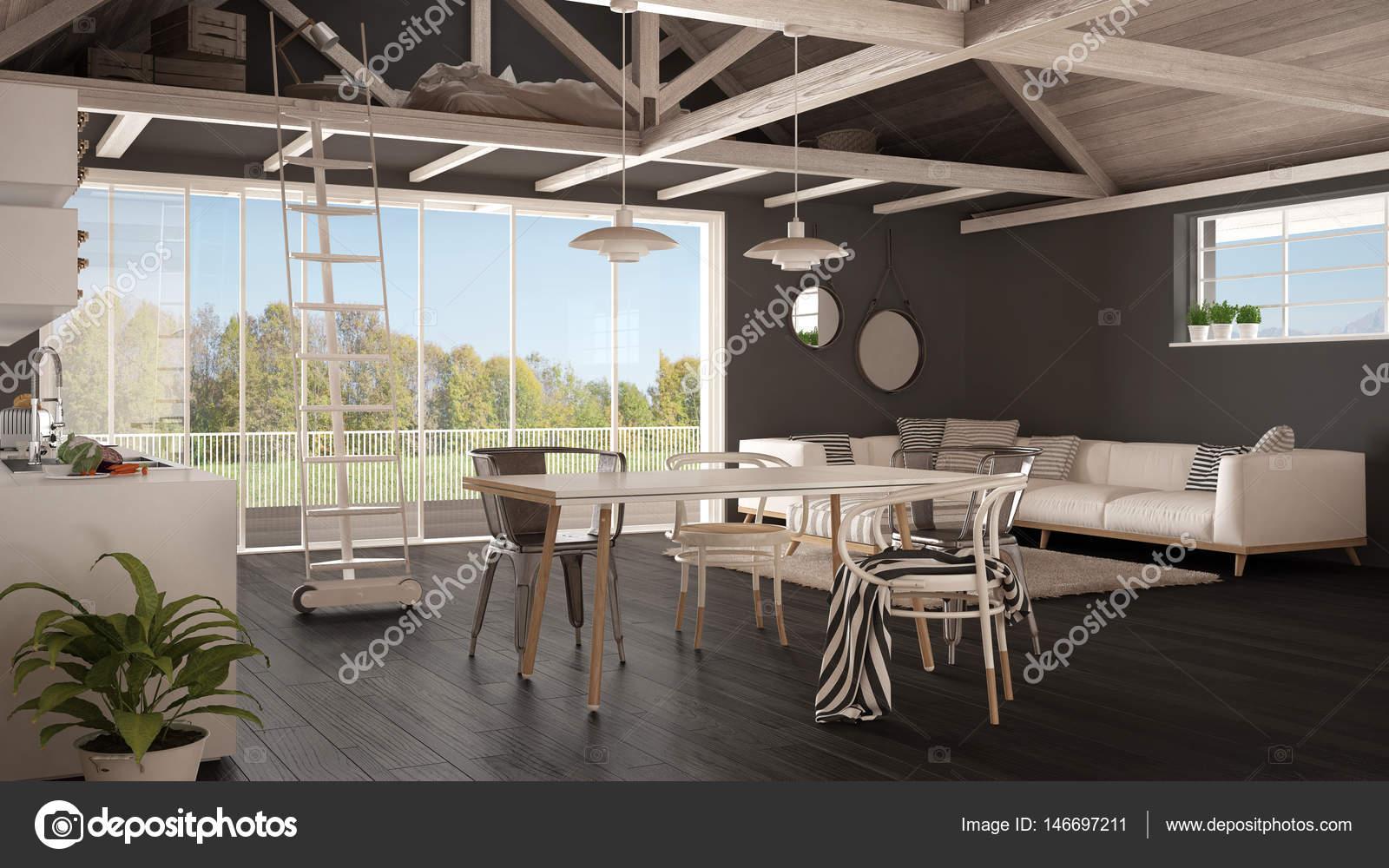 Loft minimalista entrepiso cocina sal n y dormitorio for Casa minimalista rustica
