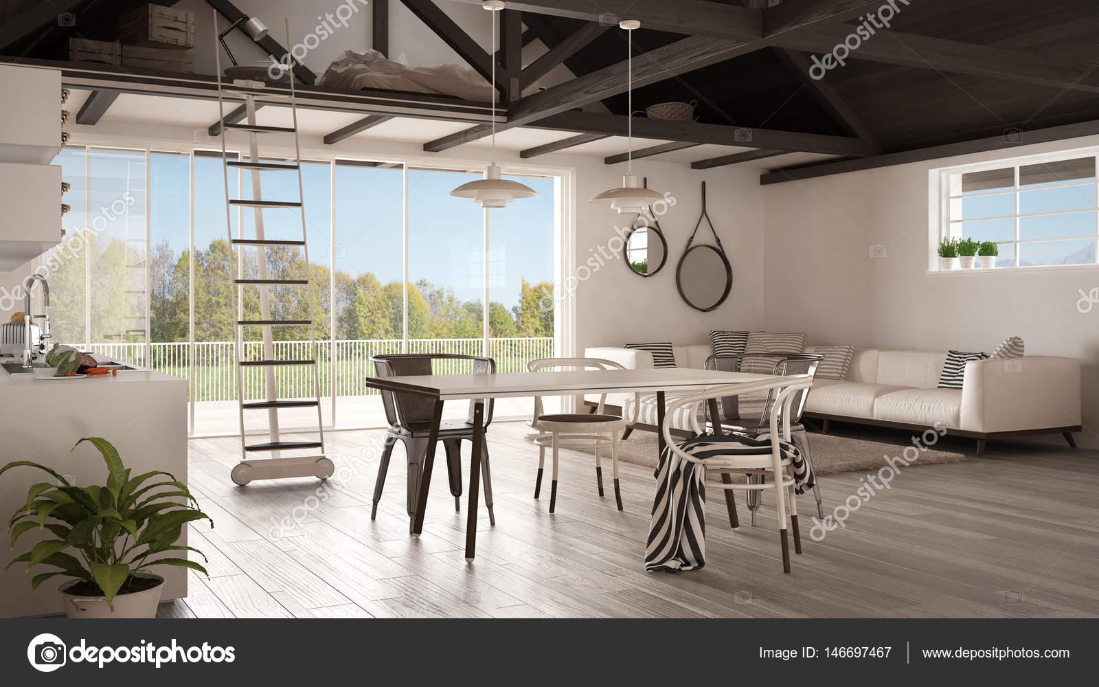 Minimalistische mezzanine loft-, keuken-, woon- en slaapkamer ...