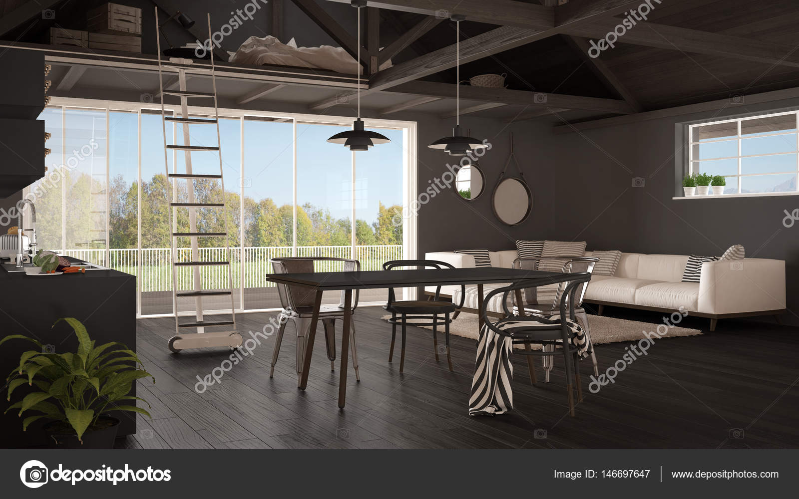 Minimalistische mezzanine dachboden küche wohn und schlafzimmer
