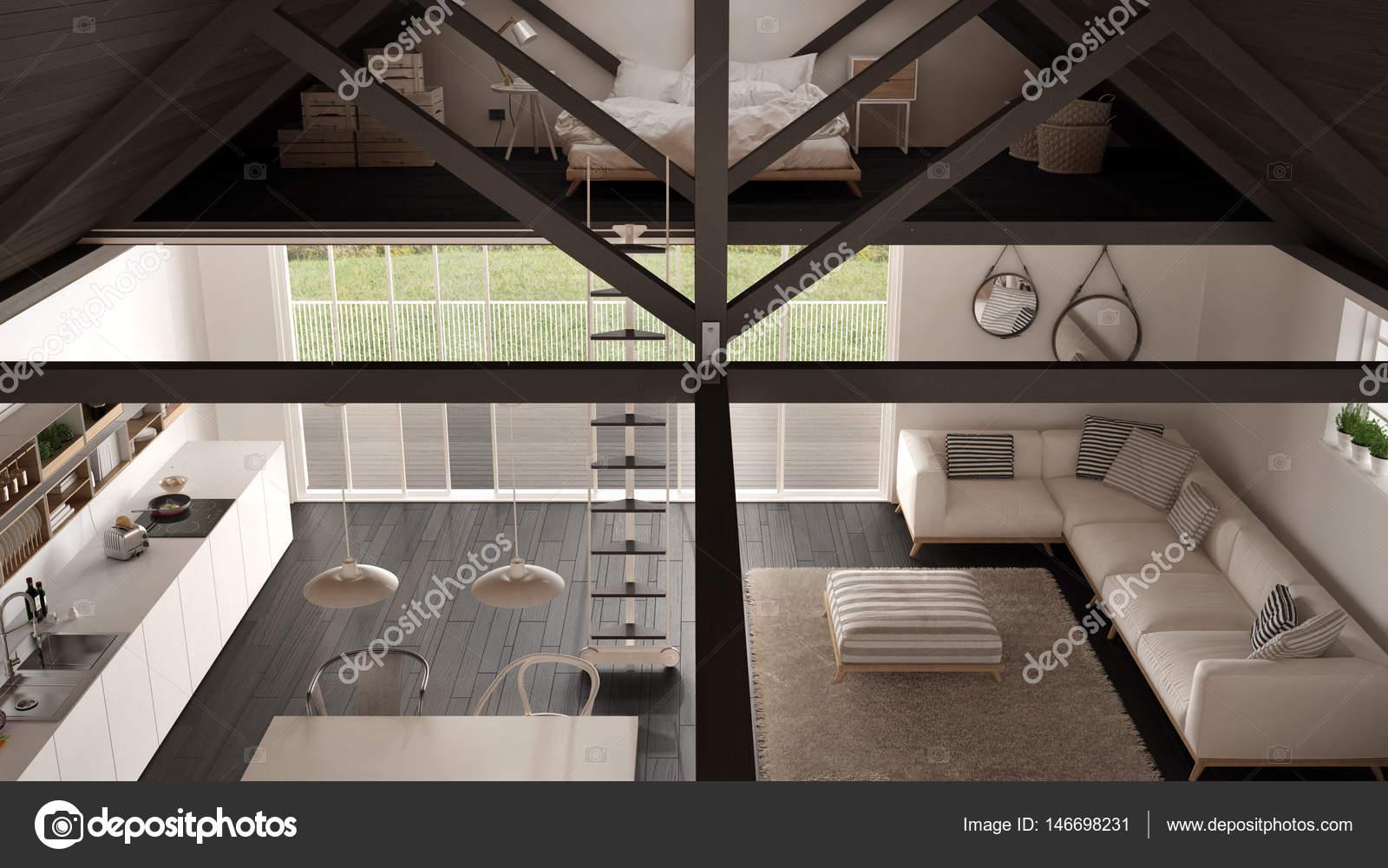 Minimalistische Mezzanine Dachboden, Küche, Wohn- und Schlafzimmer ...