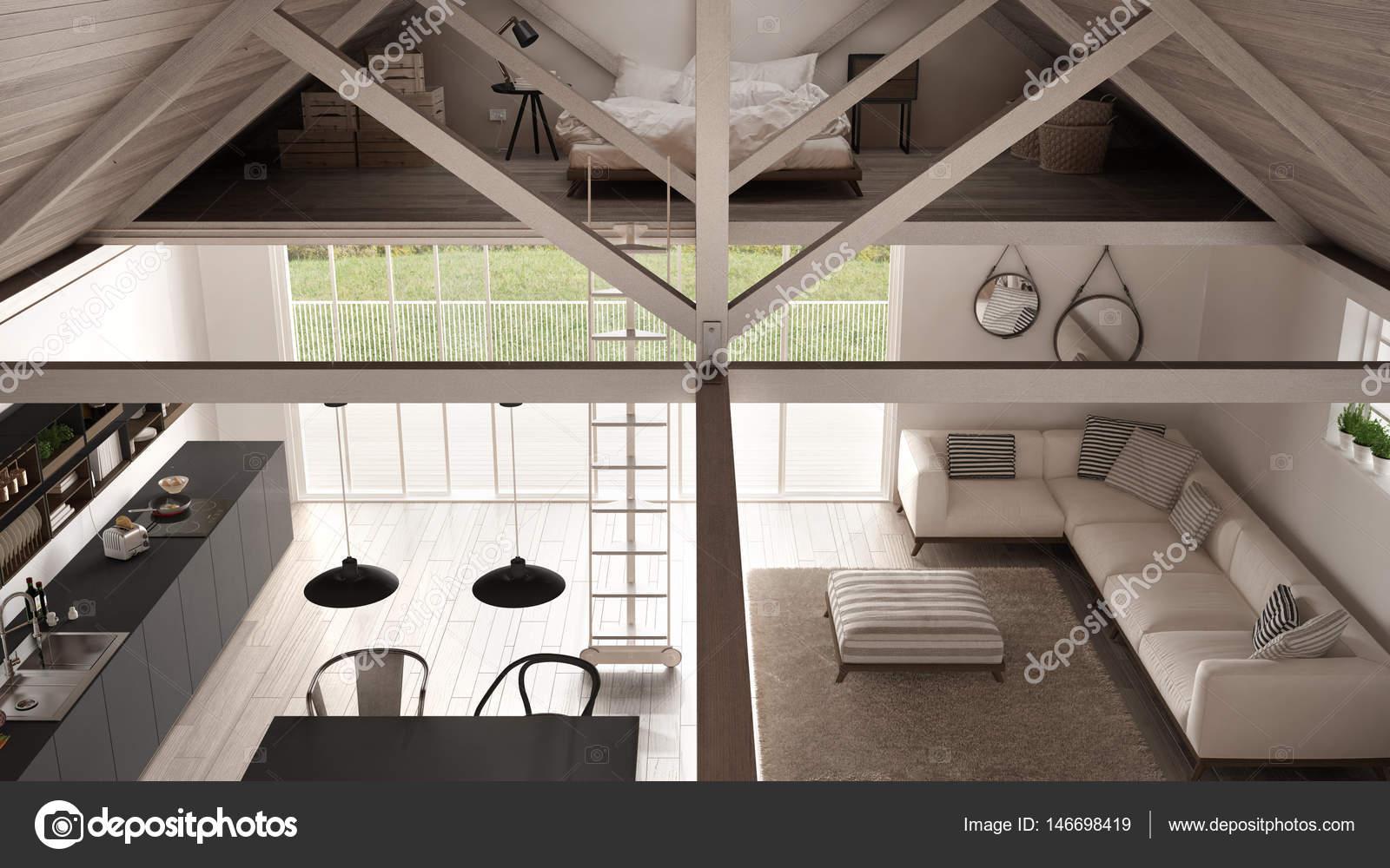 Camera Da Letto Nel Soppalco : Minimalista soppalco cucina soggiorno e camera da letto in