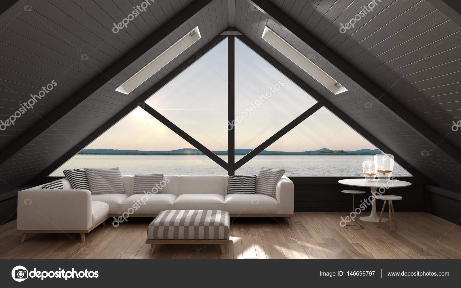 Soppalco classico con grande finestra e panorama sul mare soggiorno