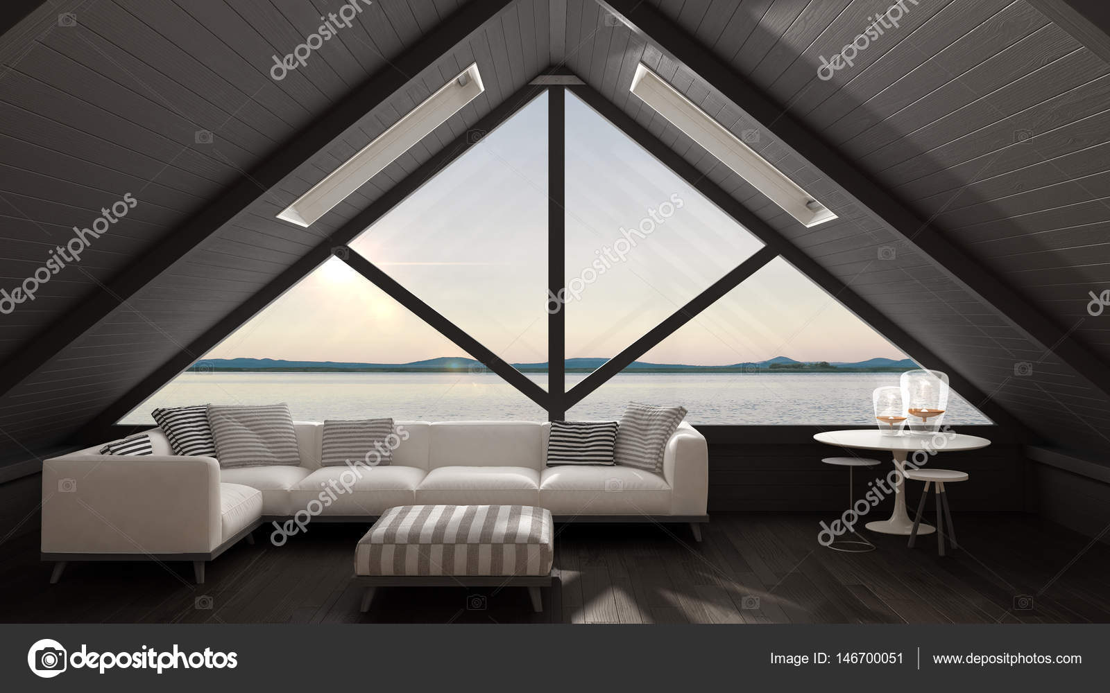 Classic mezzanine loft with big window and sea panorama, living ...