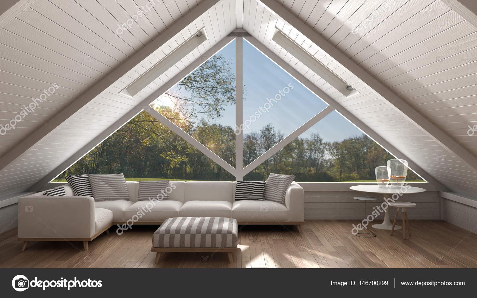 Klassieke mezzanine loft met groot raam en zee panorama levende