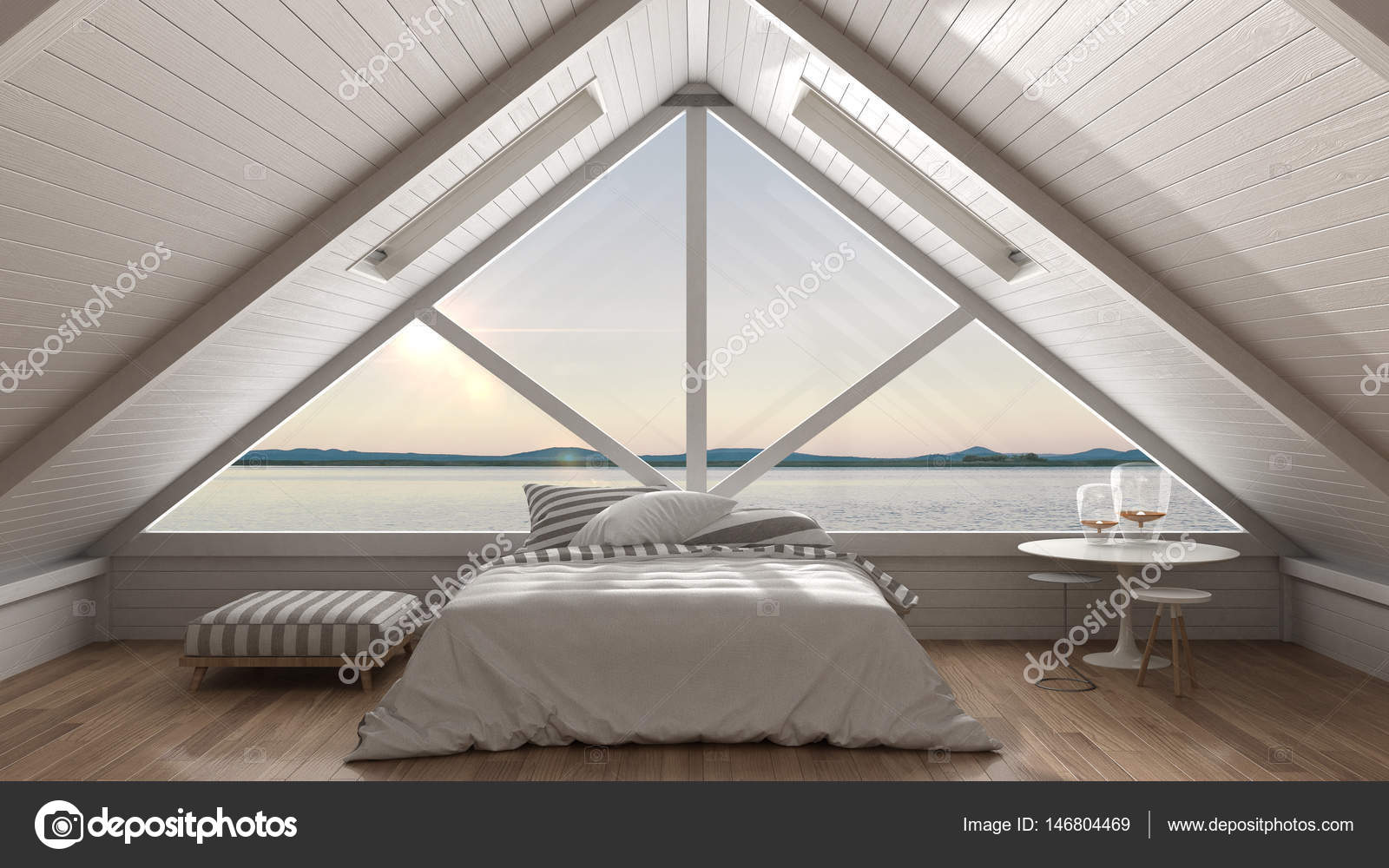 Klassische Mezzanine Loft mit großem Fenster und Meer Panorama ...