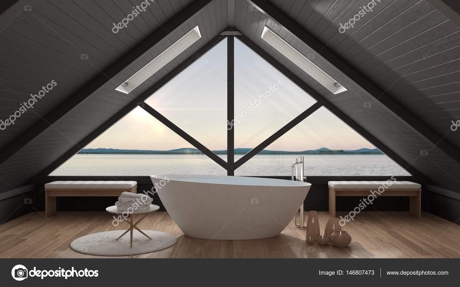 Klassieke mezzanine loft met groot raam en zee panorama ba