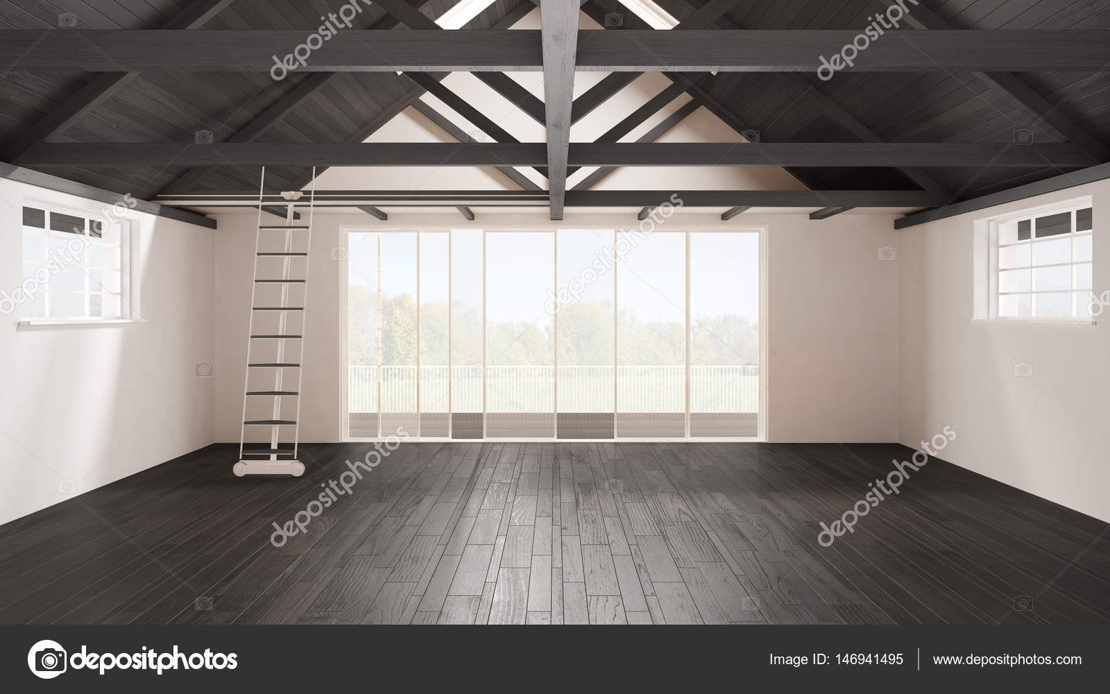 Minimalistische mezzanine loft lege industriële ruimte houten