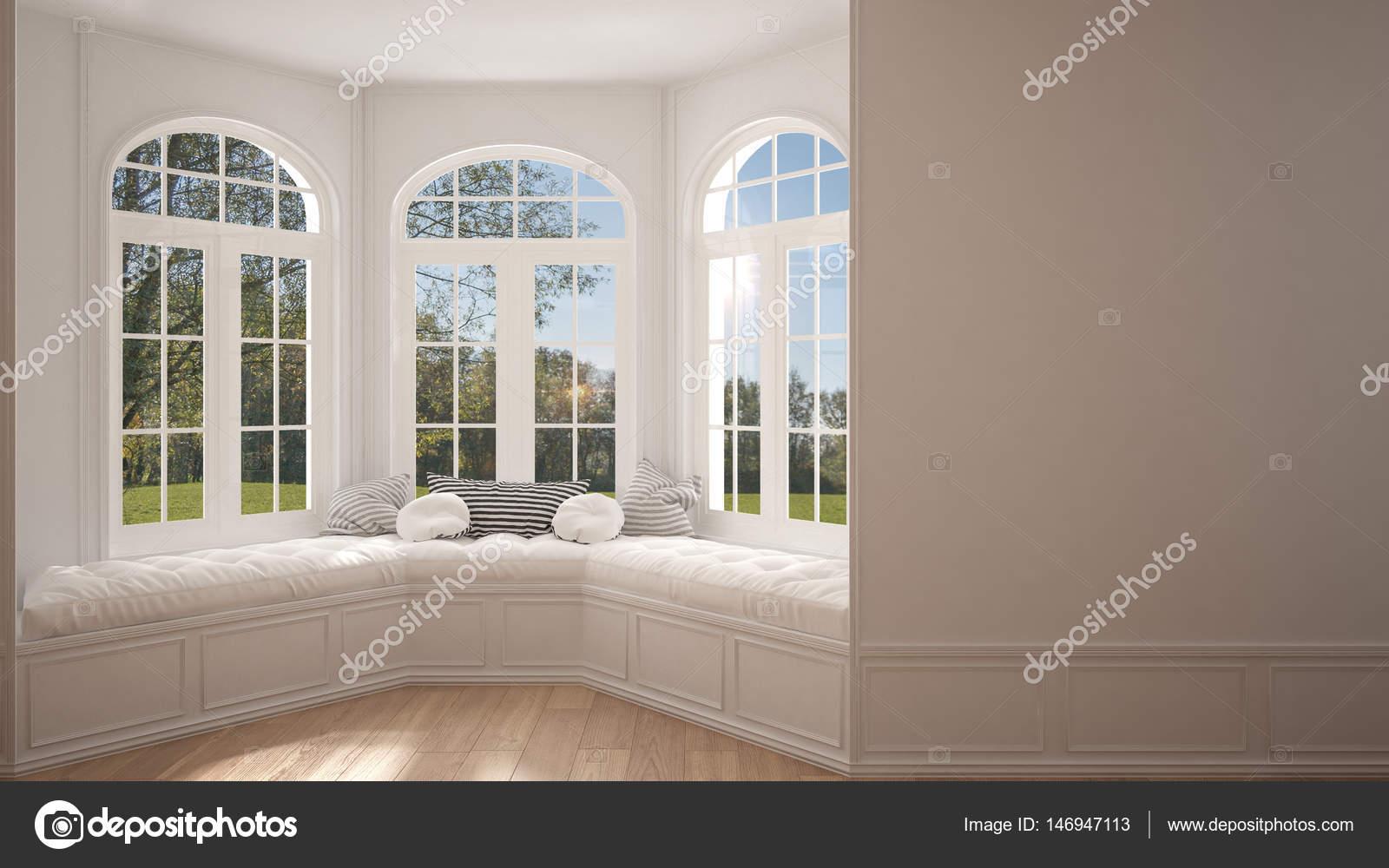 Groot raam met tuin weide panorama minimalistische lege